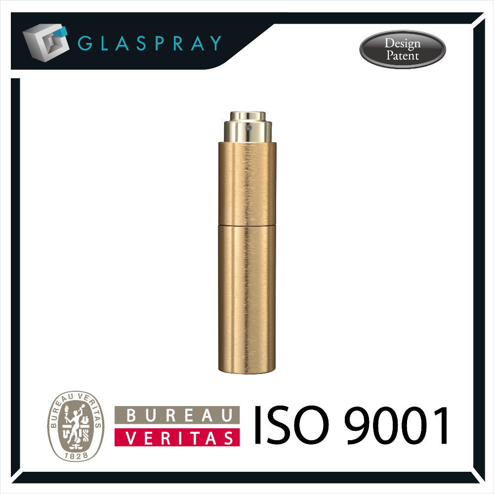SCALA CNC Twist and Spray 20ml Brushed Gold Aluminium Alloy Refillable Perfume Spray Bottle
