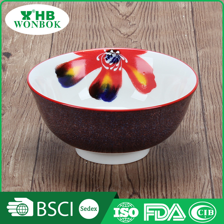 New coming turkish custom printed flower ceramic bowl