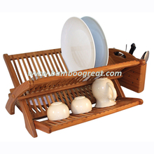 Hot Safe Bamboo Adjustable Drain Dish Rack