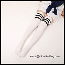Minori high quality boy girls knee high three striped tube socks school girl knee high uniform socks