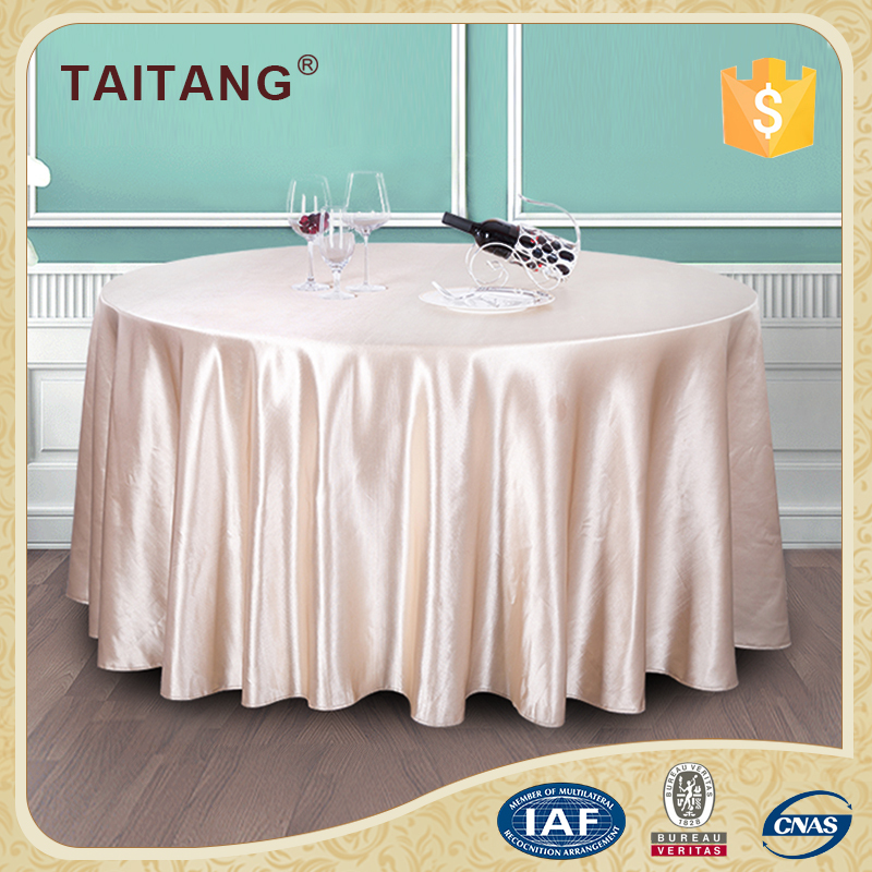 "Made In China Polyester Champagne 132"" Wedding Round Table Cloth"