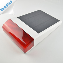 Home Security Solar Power Internal Battery Red Wireless Alarm Siren