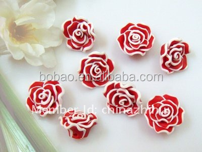 Newest popular polymer clay nail art miniature flower artificial clay flowers
