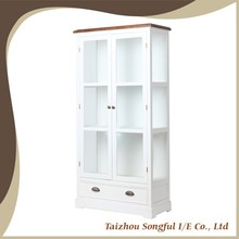 Distressed White Wooden Glass Display Cabinet, Book Shelf