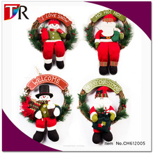 2016 christmas house decorating snowman /santa claus christmas wreath and garland