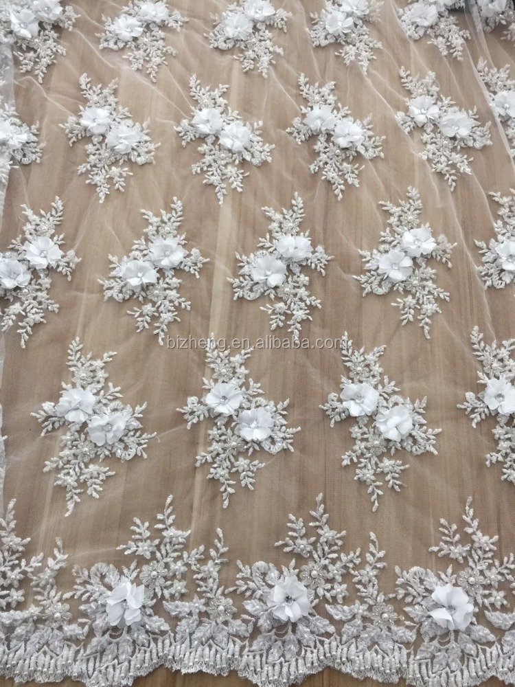 Latest white Embroidery flower hand made french lace