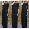 Women's Casual Vestidos Fancy Lace Design O Neck Floor Long Length Dress With Long Sleeve