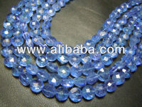 AAA High Quality Blue Tanzanite Gemstone Faceted Coin Beads Size 6MM Approx Wholesale Price
