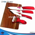 4pcs flower printing ceramic knife set with cutting board and peeler