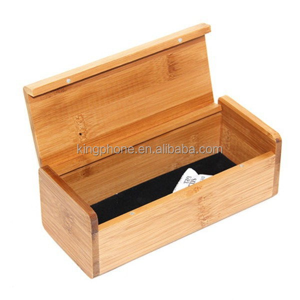 Wooden rectangular sunglasses flip bamboo box, can custom
