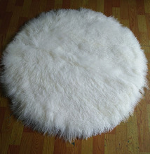 Large size round shape pure white long hair Mongolia sheepskin carpet real lamb fur rug