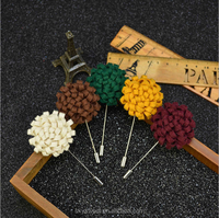wedding brooch for man, woolen cloth flower brooch with long needle