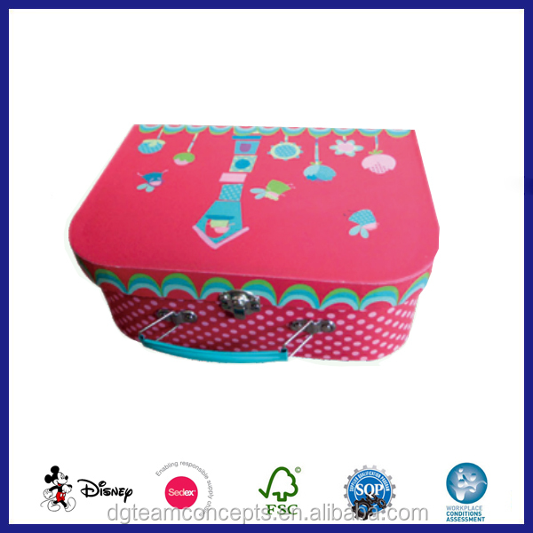 food grade paper cardboard suitcase kids lunch box with handle