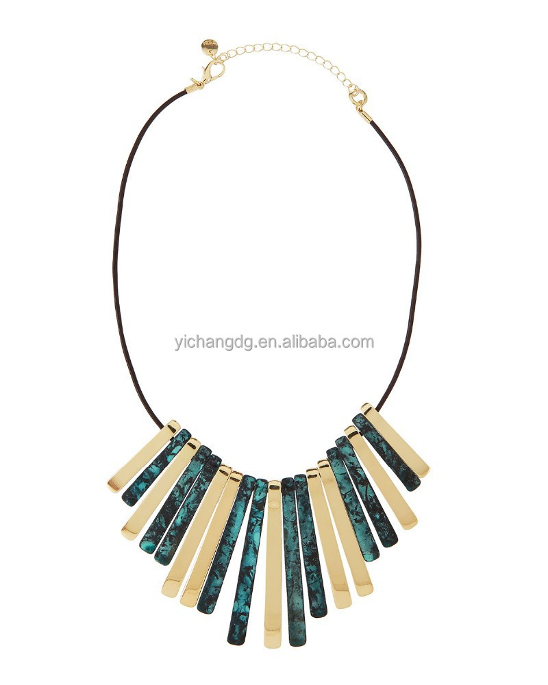 Green and Steel Patina & Metal Bib Necklace for Decorative Dress