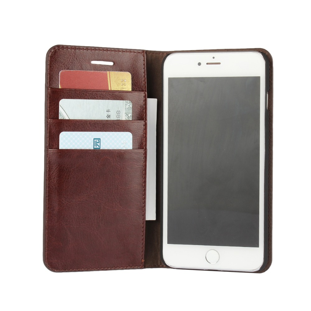 High quality real Leather Wallet Card Holder Flip Case Cover For iphone 7 /leather phone case