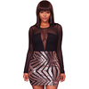 Black Sheer Mesh Long Sleeve Champagne Patchwork Sexy Mini Club Dress