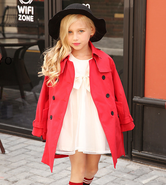 Chic classic British style Double row of buttons Children's wind coat China factory