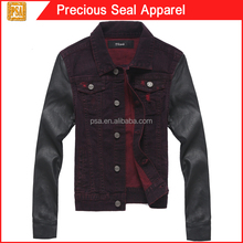 woman tops denim jeans jacket with pu sleeve (PSA1504-44)