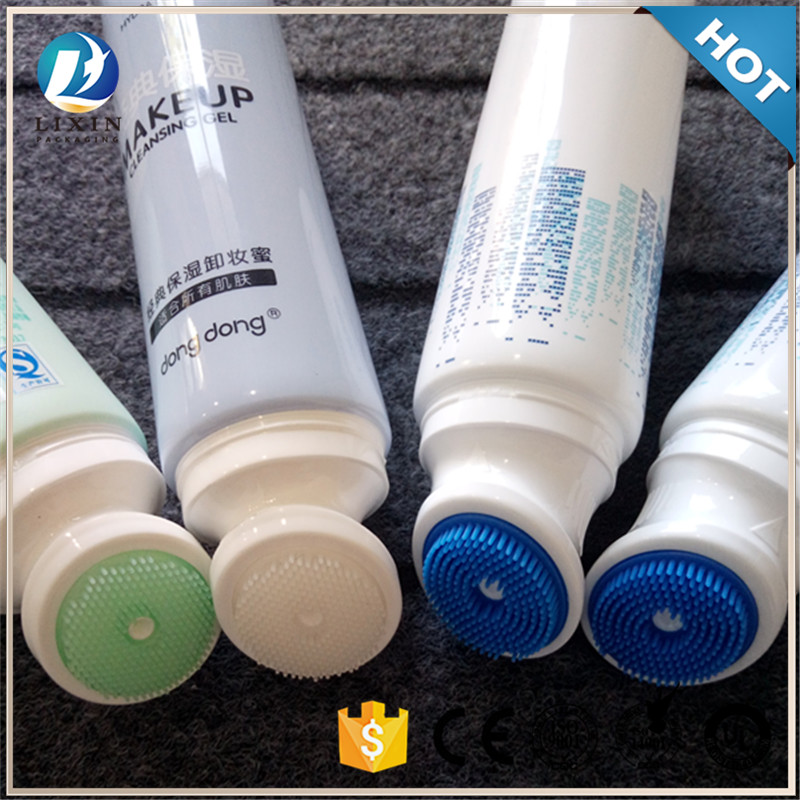 wholesale biodegradable packing 120ml face cream packaging <strong>tube</strong> with Silicone hair brush head