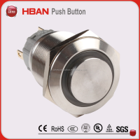 High round 6v 12v 24v 110v 220v Ring illuminated Self Lock Reset push button switch with led