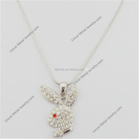 Alloy animal rabbit head pendant necklace