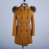 2014 Woman Fashion Slim Fit Long Polyester Padded Lightweight Ladies Winter Jackets With Real Fur