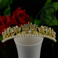 Wholesale and OEM headband princess rhinestone pearl fancy wedding Jewelry handcraft golden hair accessory bridal tiara