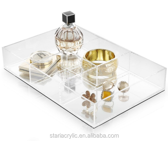 4 Compartments Clear Perfume Holder Tray, Acrylic Jewelry Cosmetic Desk Organizer