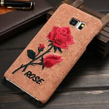 New Arrival embroider rose For Samsung Galaxy Note 5 Mobile Phone Accessoires,For Samsung Note 5 Back Cover ,Note5 back case