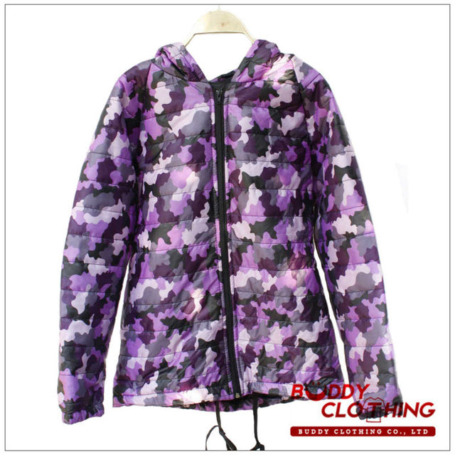Women hooded camouflage puffer jacket