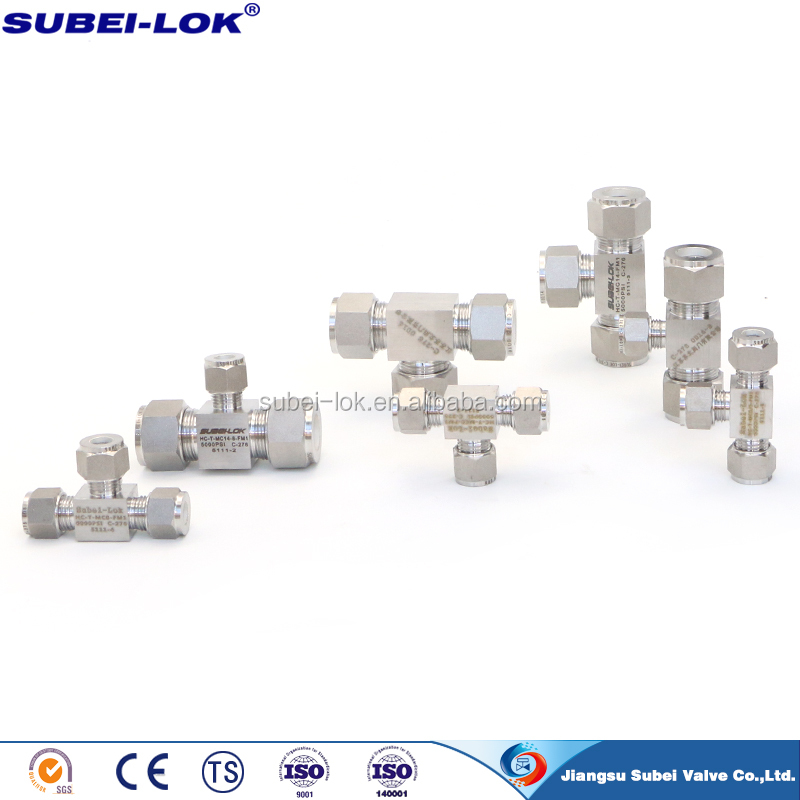 instrument ss tubing fittings cross tee with hexagon head shape cng fittings
