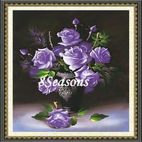 Handmade Purple Flower Pattern Embroidery Diamond Painting DIY 3D Kit Cross Stitch