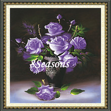 Handmade Purple Flower Pattern Embroidery Diamond Painting DIY 3D Kit Cross Stitch