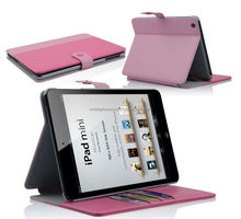 Hot selling leather back cover stand wallet case for ipad mini