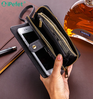Universal Magnetic Multi-Function Wallet Card Flip Leather Mobile Phone Case With Strap