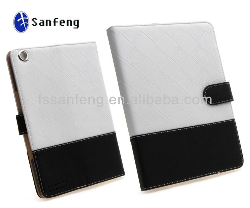 High Quality White Black Two-Tone Dual Color Folio Book Fashion Leather Mobile Wallet Case For ipad 2 3 4 With Stand Funtion