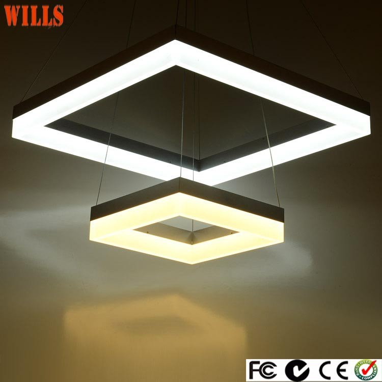 New style Elegant LED light square acrylic shade chinese chandelier for shops