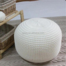 white color big floor cushion crochet technic pouffe hassock