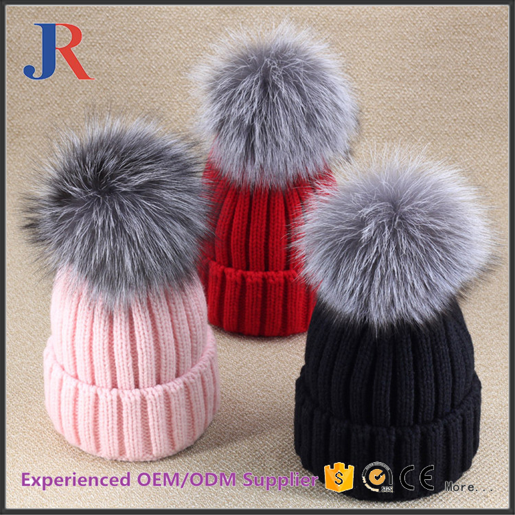 2016 New Winter Female Cashmere Wool Beanies Hats With Fox Fur pompom balls