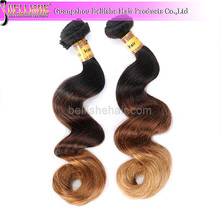 3 tone color hair real virgin brazilian orange remy hair extensions