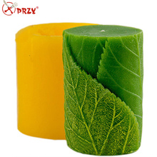 Cylinder with leaves 3D mold silicone soap mold silicone candle mold
