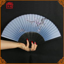 High quality Souvenir Gift Chinese Personalized Silk Hand Fan with black bamboo ribs folding hand fans GFZS807-5