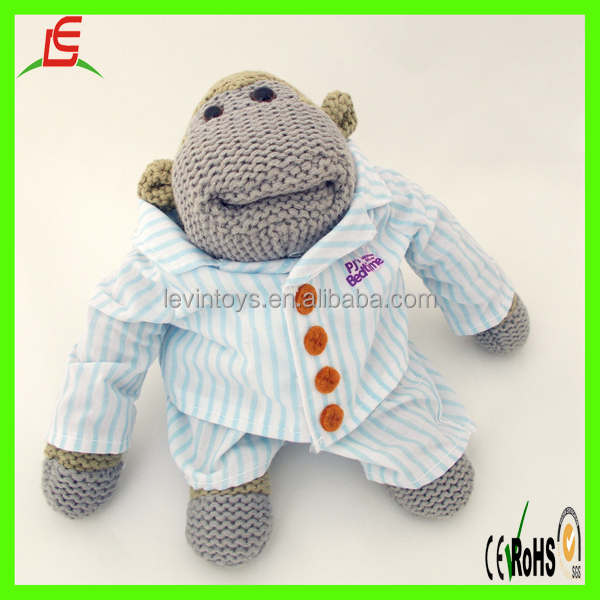 New Design 12 inch Monkey Small Knitted wearing plaid shirt Chimp Toys
