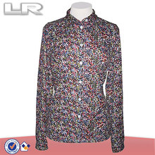 Latest Designs Colorful Green, Red & Blue Speckled Printed Casual Blouse Shirt for Women