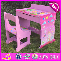 2016 wholesale wooden studying table and chair,wooden writing table and chair sets, kids table and chair for studying W08G162