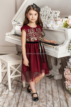 lace flower embroidery girls long dress frock designs for party