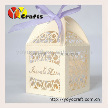laser cut various colors filigree wedding supplies OEM service indian wedding favor boxes with free logo