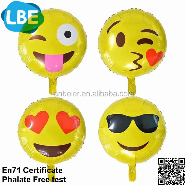 2016 china factory funny party decoration foil/aluminum emoji balloon
