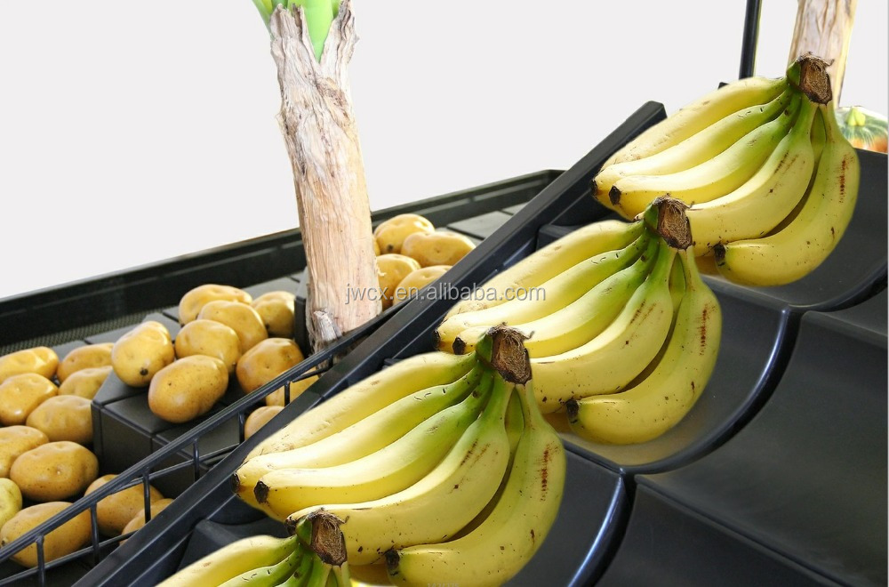 Supermarket fruit vegetable shelf rack banana display riser