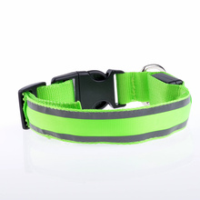 Durable single fiber optic LED pet collar CR2032 battery button cell battery reflective led dog collar